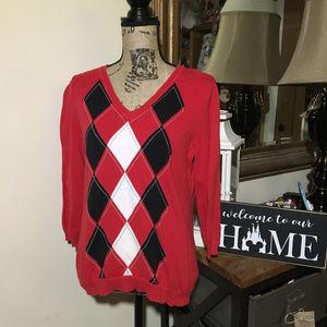 Liz Claiborne Red V-Neck Sweater